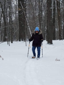 Mom snowshoeing